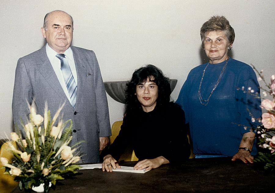 Com os pais  no lançamento de Nicarágua Nicaraguita,  três anos  antes da morte da mãe