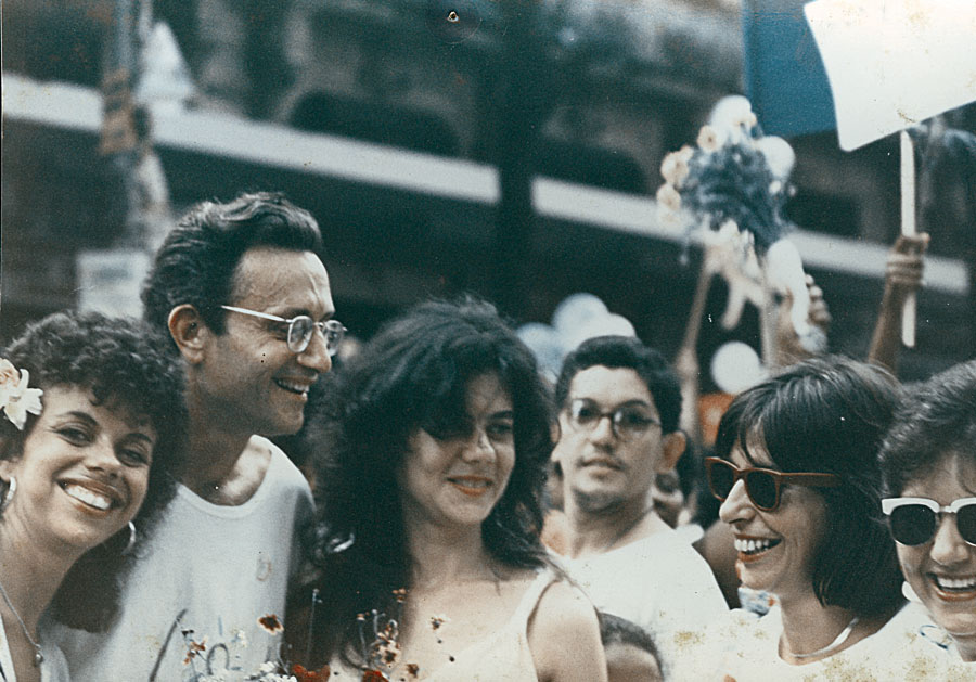 No ato Chile Livre, no Rio,  em 1980