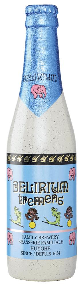 Delirium Tremems (Bélgica) – É uma Belgian Golden Strong Ale, dourada e com uma carbonatação incrível (bolhinhas), notas frutadas cítricas e também um leve caramelo. Copo ideal: taça.