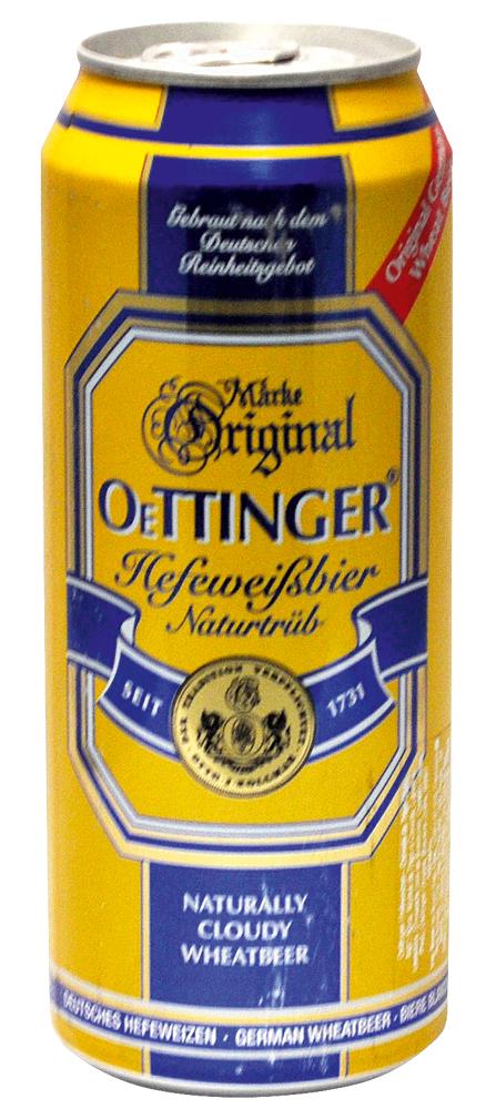 Oettinger (Alemanha) – É uma hefeweizen de trigo, dourada, turva, engarrafada com as leveduras da sua fermentação com notas de banana e cravo. Copo ideal: weizen (comprido com a boca larga).