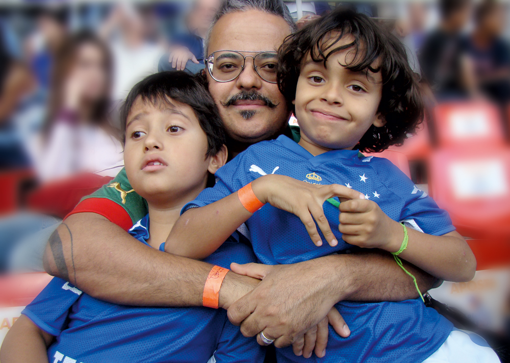 Com Ludovico e Graciliano (à dir.), em um jogo do Cruzeiro, no Mineirão, em 2007