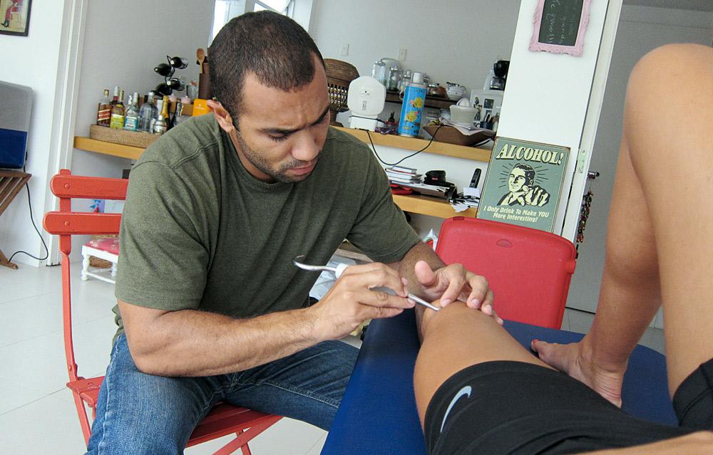 """""""Em seguida, fui para casa fazer exercícios com meu fisioterapeuta, o Leandro"""""""