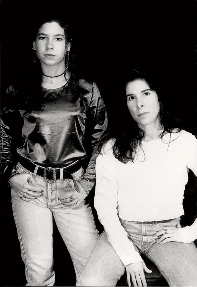 Com a filha Vivi em Nova York, em 1997