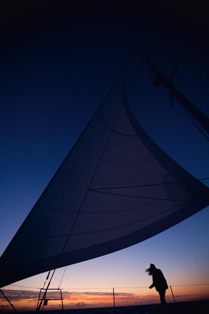 Pôr do sol em alto-mar europeu