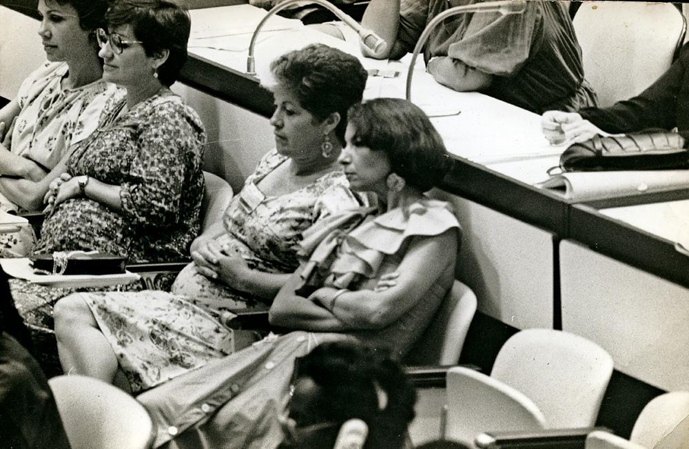 m Havana, em um encontro de mulheres da América Latina e Caribe, ao lado da amiga Nora Cervantes