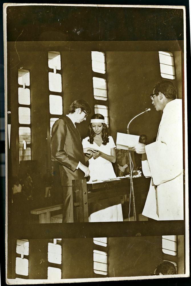 no primeiro casamento, com Luiz Roberto Clauset, em janeiro de 1969