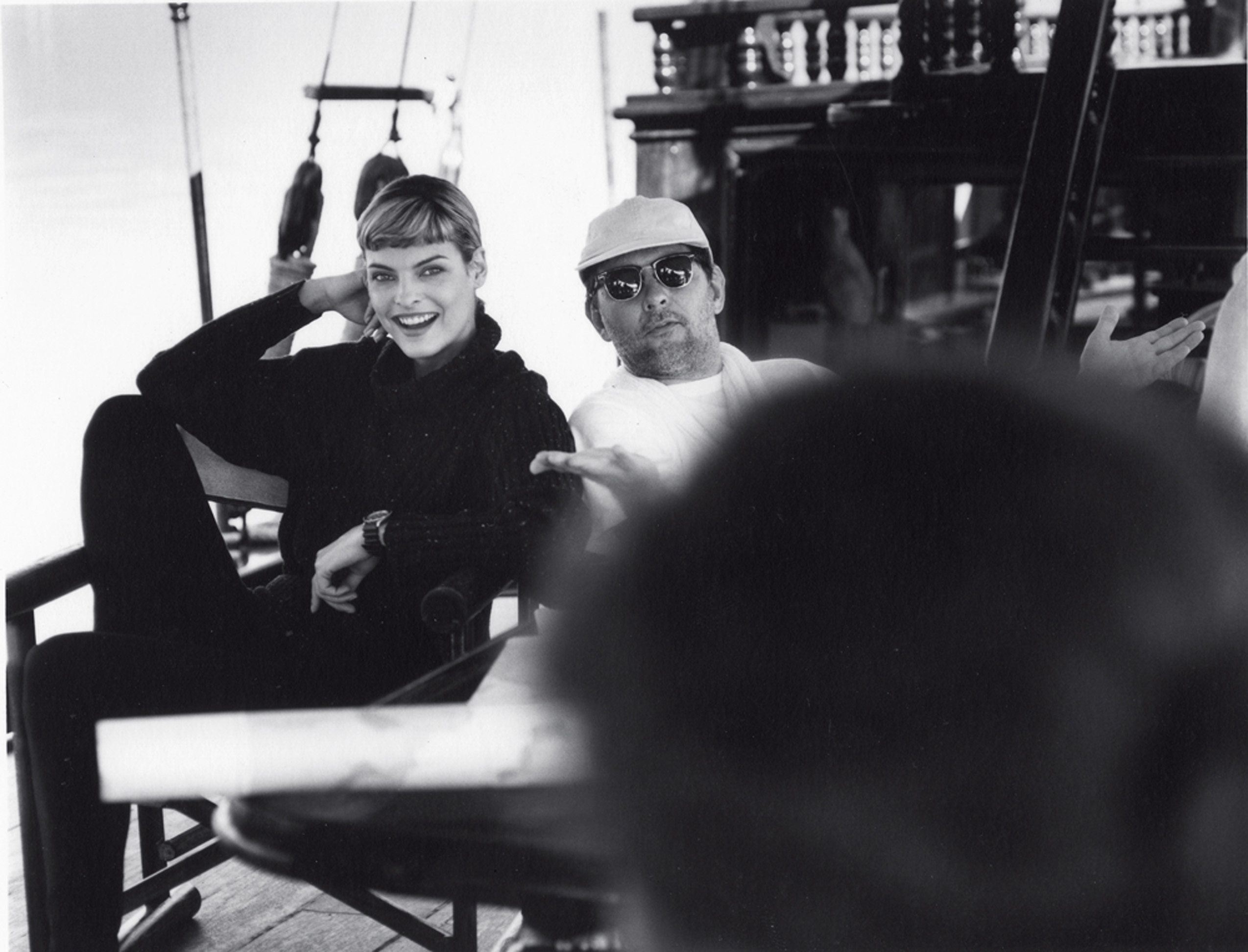 Em 1997, com a top Linda Evangelista, em Paraty (RJ)