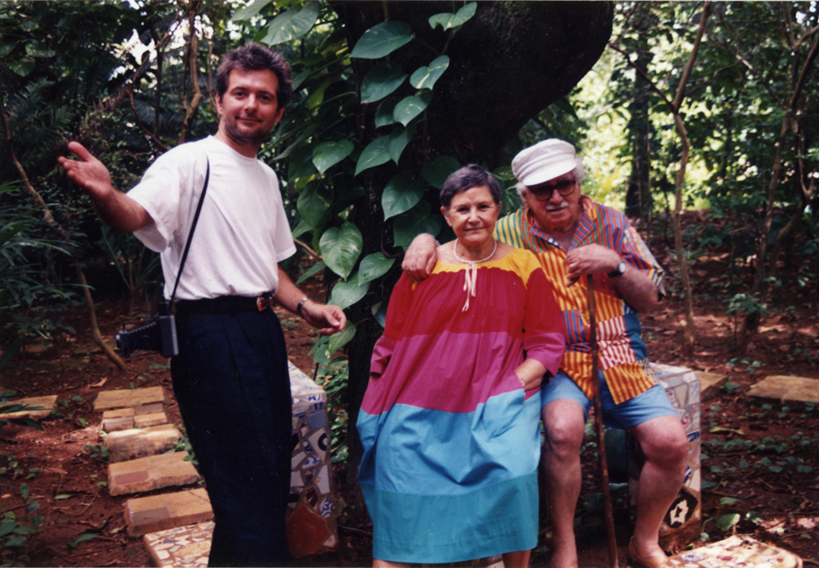 Com Zélia Gattai e Jorge Amado, no início dos anos 90, em campanha para a American Express
