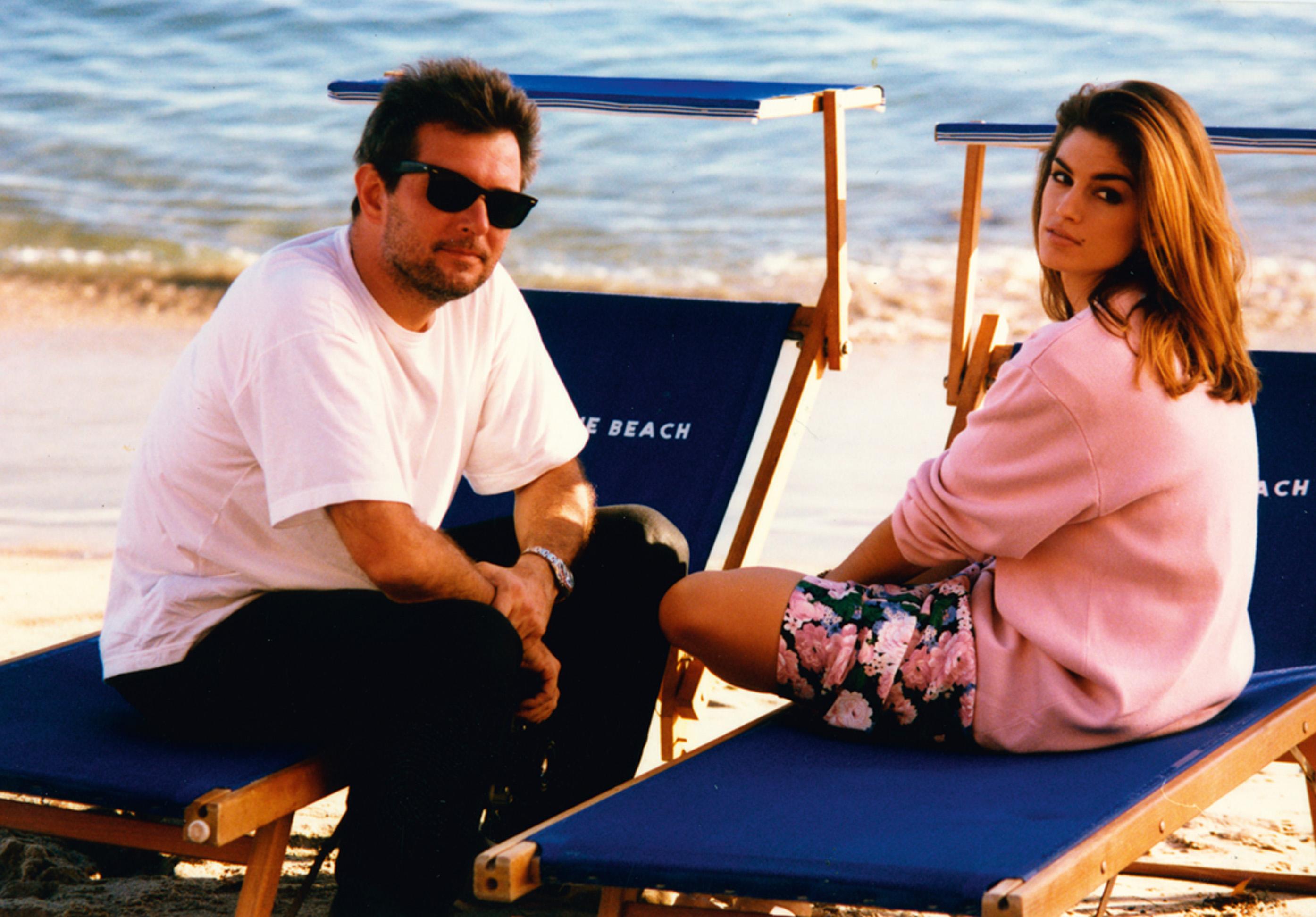 Com Cindy Crawford, fotografando em Malibu