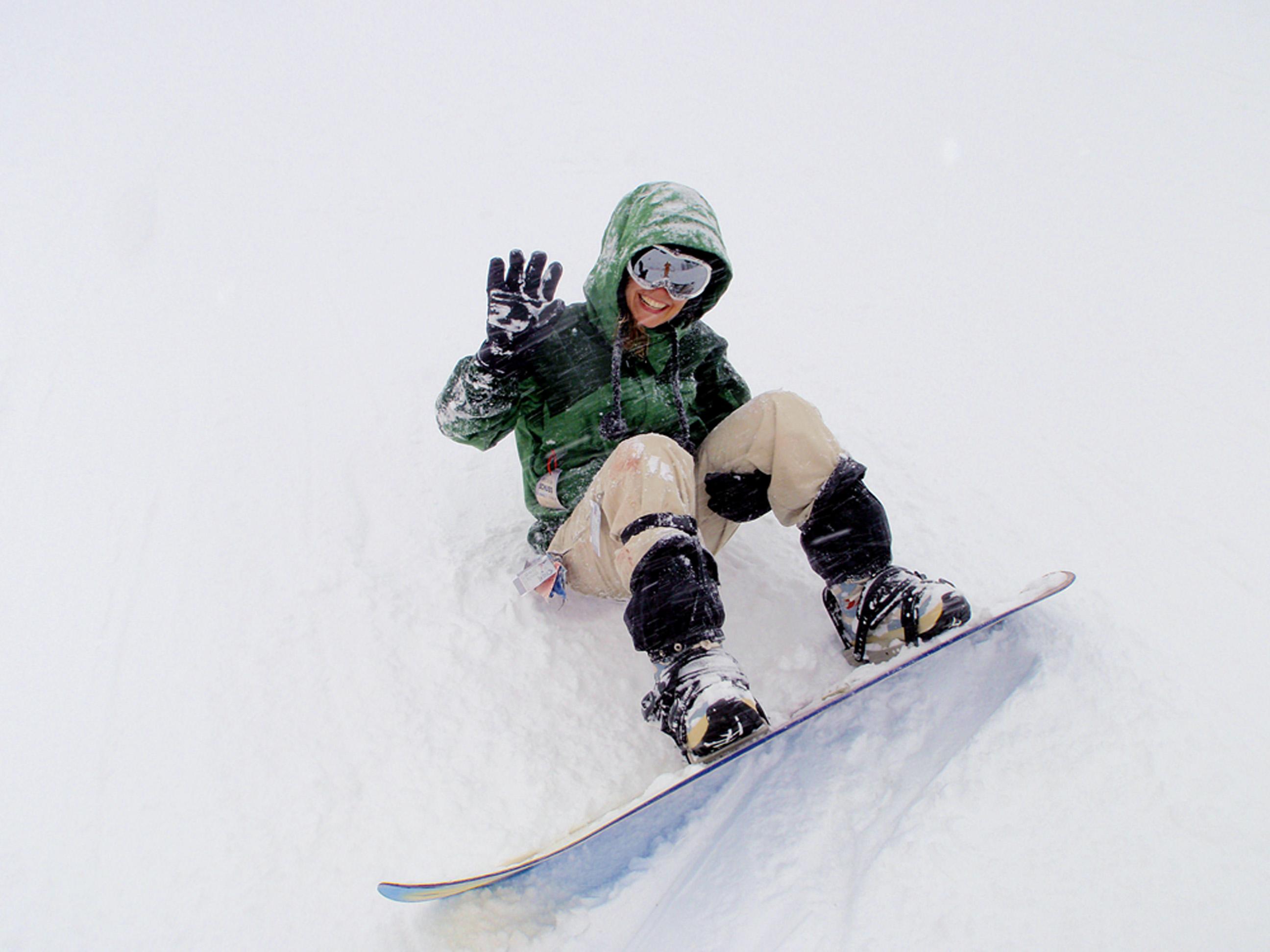 Fabiana se arrisca no snowboard, na Califórnia