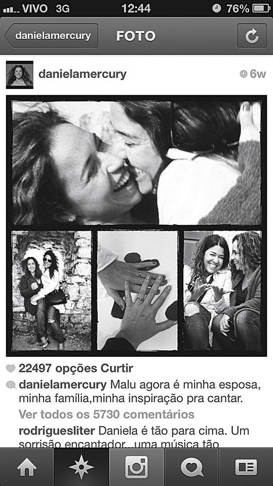 A montagem de fotos produzida em Portugal e publicada no Instagram no início de abril, anunciando o casamento das duas