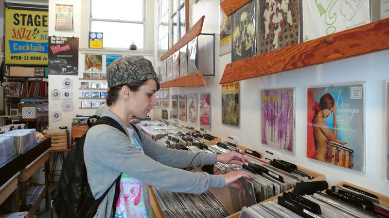 Interior da Groove Merchant, boa loja de discos de vinil