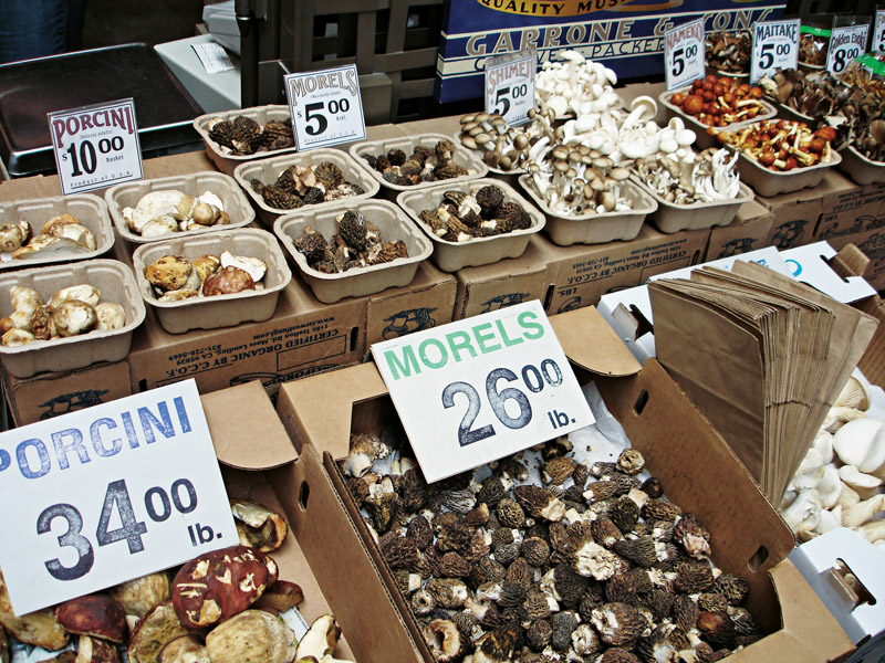 A  a oferta de cogumelos em uma das lojas do Embarcadero: trufas, porcini, morels e outros