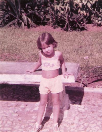 Aos 3, no parque onde sempre ia brincar com a mãe