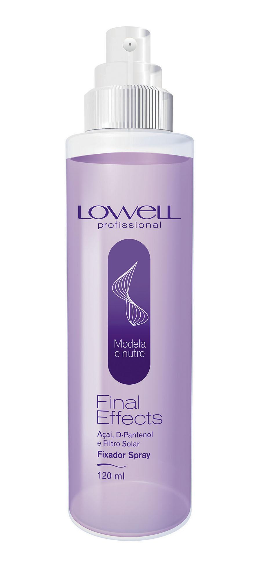 1- Lowell Fixador Spray l, R$ 27,20: sua fórmula é isenta de álcool, não resseca os fios, possui filtro solar e D-Pantenol, que auxiliam no brilho e na maciez. Lowell Cosméticos 0800-7728040