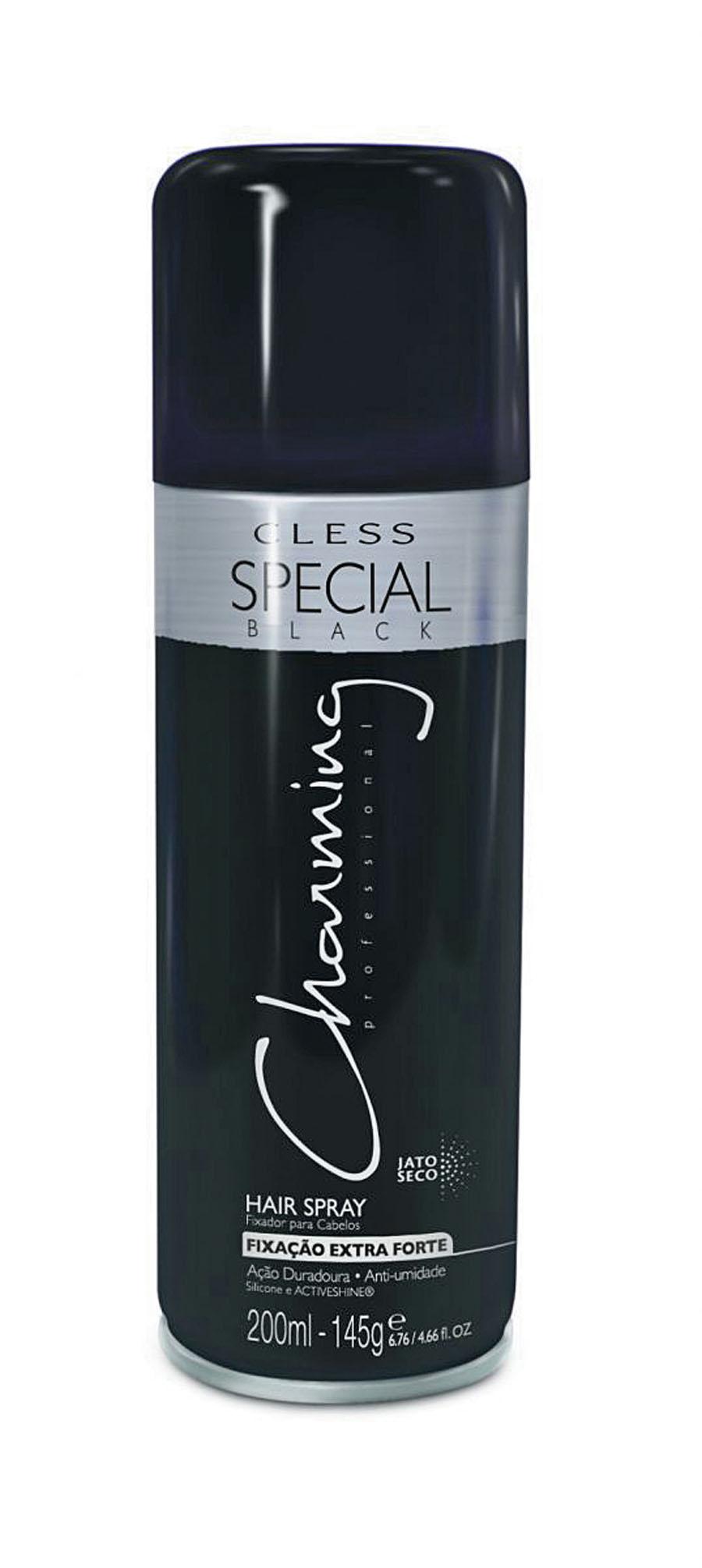2- Hair Spray Black Charming, R$ 10: perfeito para finalizar penteados mais elaborados e fixar cabelos mais volumosos ou difíceis de disciplinar. Cless Cosméticos 0800-7022627