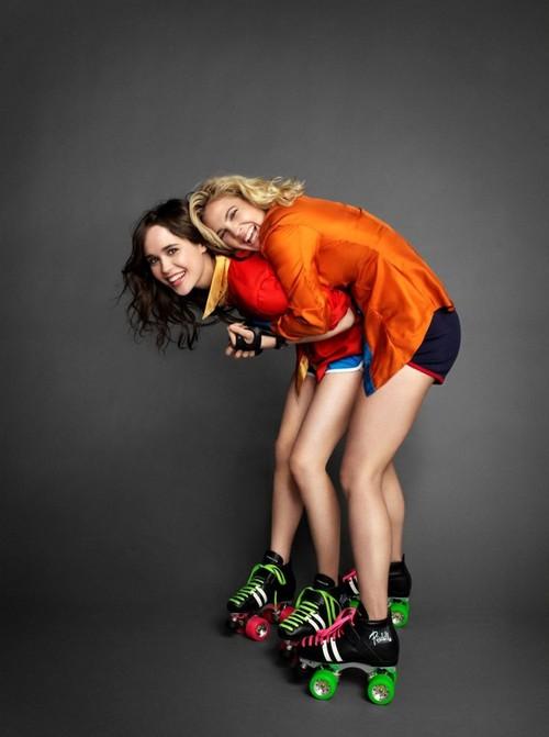 Ellen Page e Drew Barrymore em editorial de moda na época do filme 'Garota Fantástica'