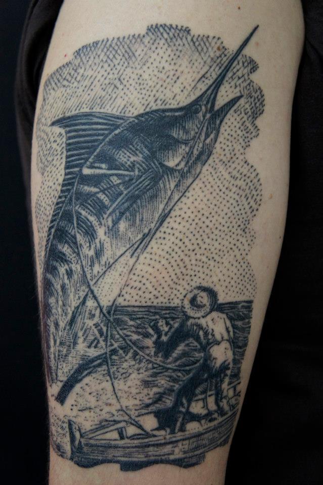 """Ilustração da versão original do """"O Velho e o Mar"""", de Ernest Hemingway"""