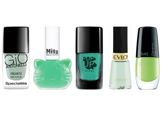 Verdes - Giovanna Antonelli, R$14,50 / Hello Kitty, R$7,50 / Pop up store, R$15,90 / Revlon, R$19 (na Sephora) / Artdeco, R$19,90 (na Sephora)