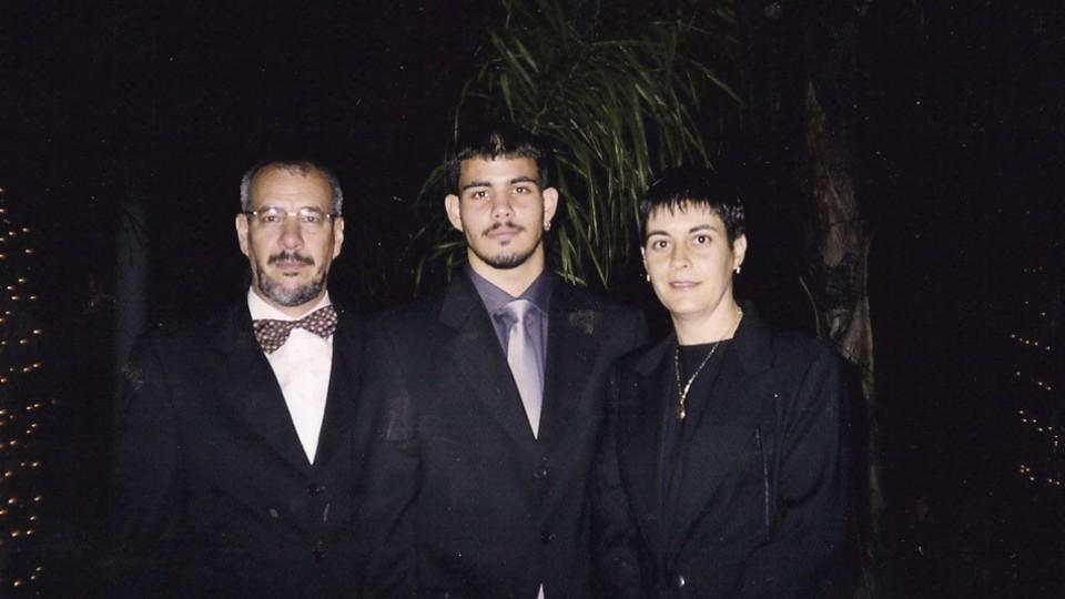 Com o pai, Lourenço, e a mãe, Maria Luisa