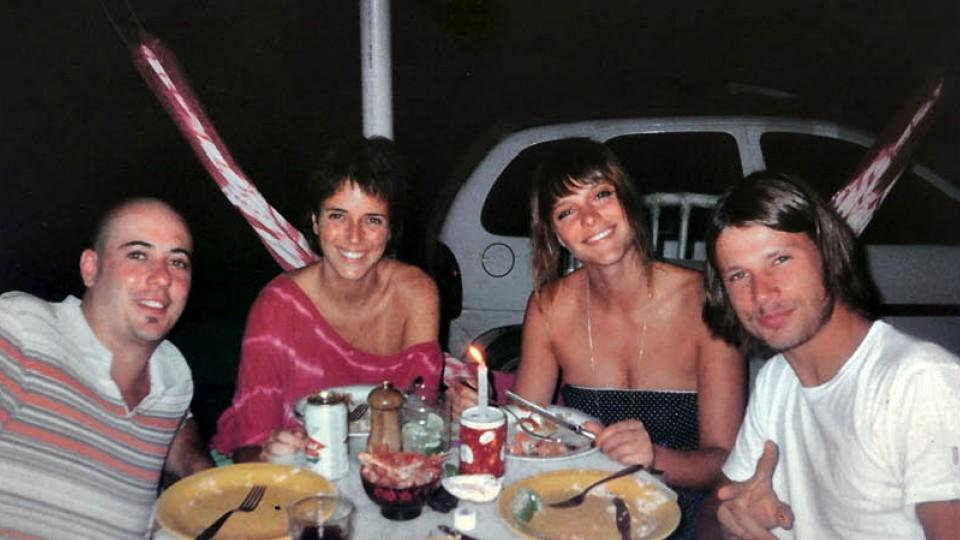 Com Daniel Redondo, Fernanda Lima e Rodrigo Hilbert no réveillon de 2005