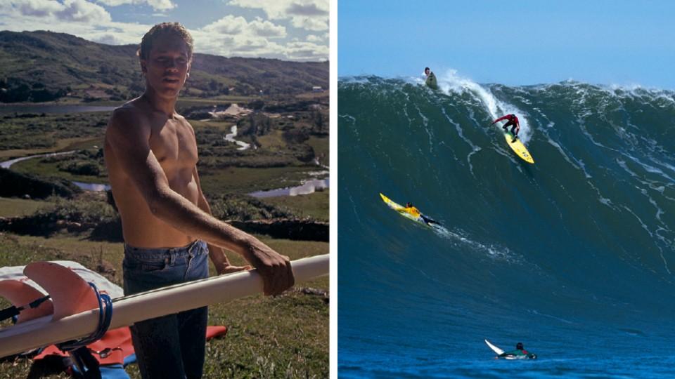 À esquerda, em Santa Catarina, nos anos 90; à direita, Brock encarando Maverick's em 2000;