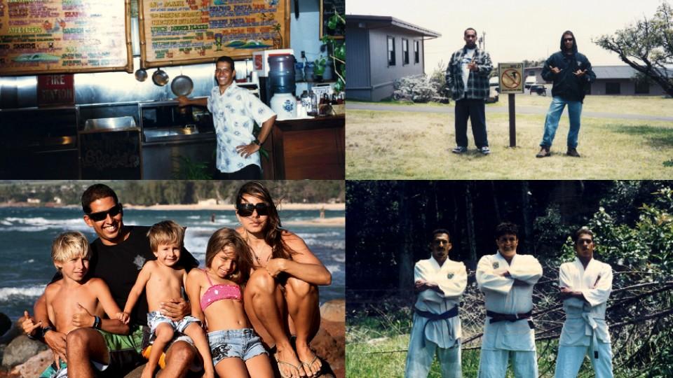 Acima à esq., Yuri em 1995, no restaurante que hoje é seu; à dir. com Fábio Balbo Machado; Abaixo à esq., com Kaipo, Koa, Kiara e Maria Soledade no quintal de casa, em 2010, à dir. com o tio Paulo Magulu, lutador de jiu jitsu