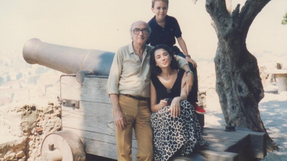 Saramago, Juanjo e Pilar no Castelo de São Jorge (Lisboa), em fins dos anos 80