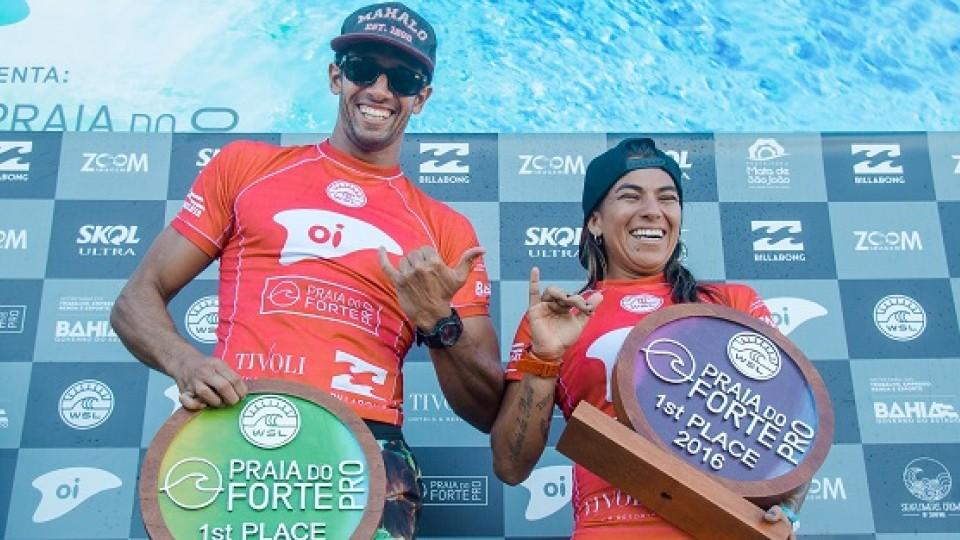 Silvana Lima e Bino Lopes, campeões do QS 1500 Praia do Forte Pro