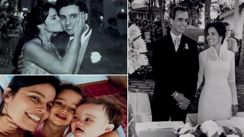 Ana Lucia  com o irmão, Alfredo; em seu casamento com Marcos Nisti, em 2005; e com as filhas, Nina e Ísis