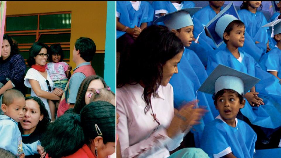 Com crianças atendidas pela creche Alana, no Jardim Pantanal, zona leste de São Paulo; e em formatura na instituição