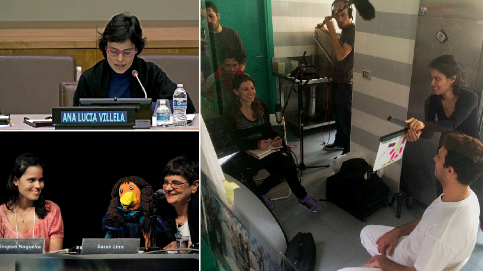 Em discurso na ONU, em Nova York, no Dia Internacional da Síndrome de Down; nas filmagens de O começo da vida, na Itália; e com sua mentora Susan Linn no Fórum CeC, sobre criança e consumismo, em 2010