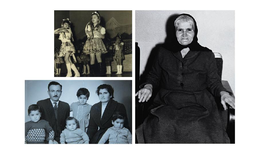 Na 3a série, dançando com traje típico armênio; a foto do passaporte da família - Kenarik é o bebê à direita; a avó materna, Zaruhi, sobrevivente do genocídio