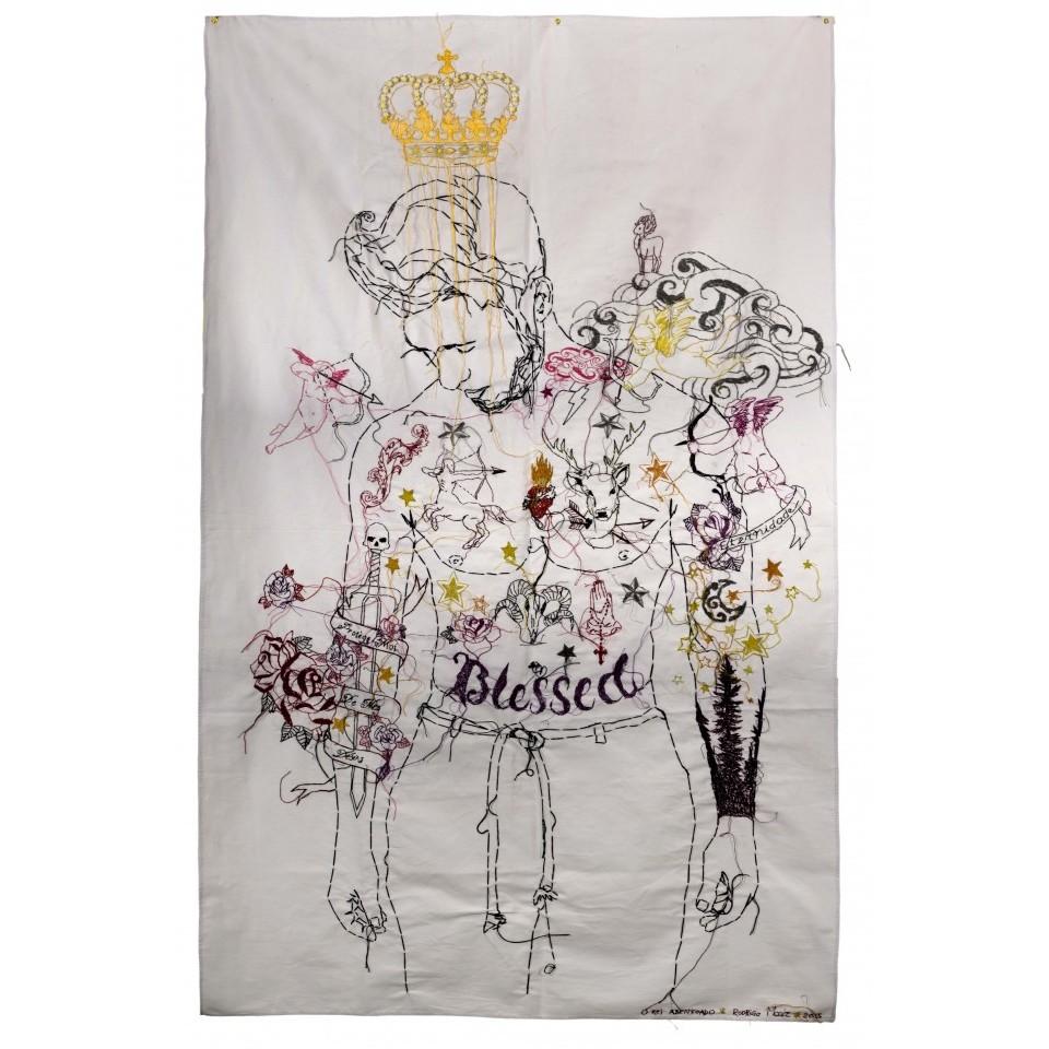 Rei Abençoado, bordado sobre tecido por Rodrigo Mogiz
