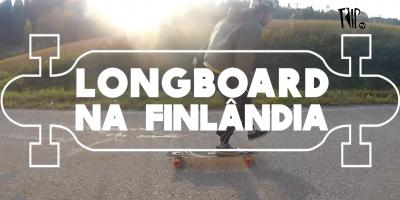 Longboard e aurora boreal na Finlândia, antes da neve chegar