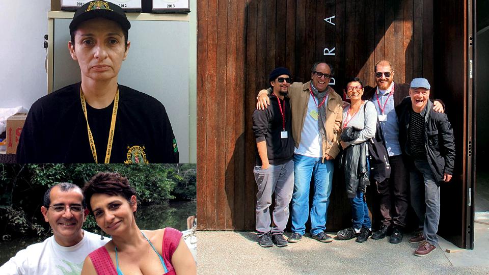Como perita criminal; com André Komatsu, Luiz Camillo Ozorio, Cauê Alves e Antonio Manuel na Bienal de Veneza de 2015; com o namorado, Victor