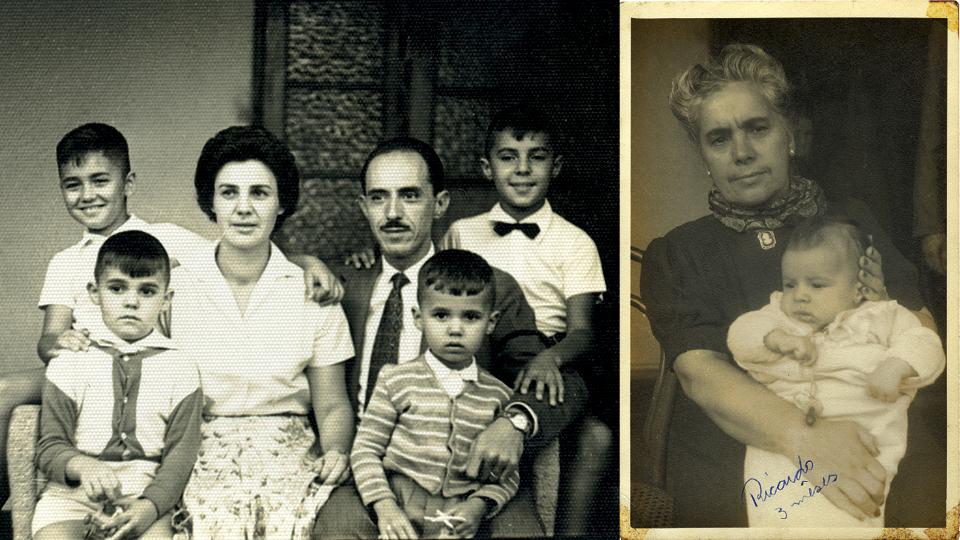 Família unida em 1955 (Guimarães é o da direita, com gravata borboleta); no colo da avó Izilda, em Itabirito (MG)