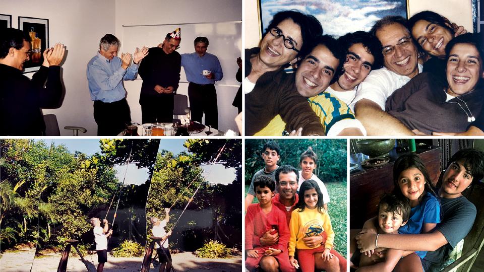 Festa de 50 anos com Luiz Seabra, Pedro Passos e Guilherme Leal, da Natura; Em Sintra (Portugual), no Natal de 2004, com os quatro filhos: Tiago (Ti), Silvia (Shubi), Helena (Leca) e Pedro (Peu); fazendo a poda de uma árvore em seu jardim; com os filhos em 1985; seus netos Tonico, Tetê e Joca em Itamambuca, 2015