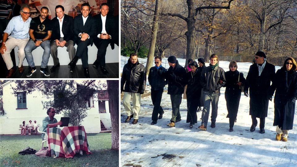 No centro cultural de Vigário Geral, com José Junior e amigos; Na fazenda da família em Nazareno (MG), escrevendo sua primeira coluna para a Trip, em janeiro de 1998; Em 2000, com a equipe da Thymus em Nova York