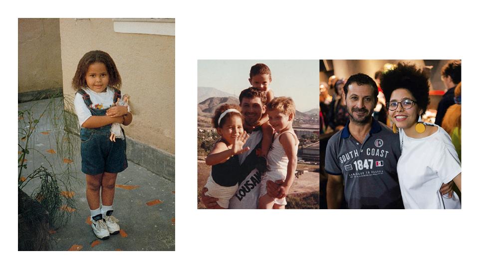 Yasmin ainda pequena na casa da tia; com o pai, Osmar, e os irmãos Junior e Peterson; e com o pai na estreia de KBELA
