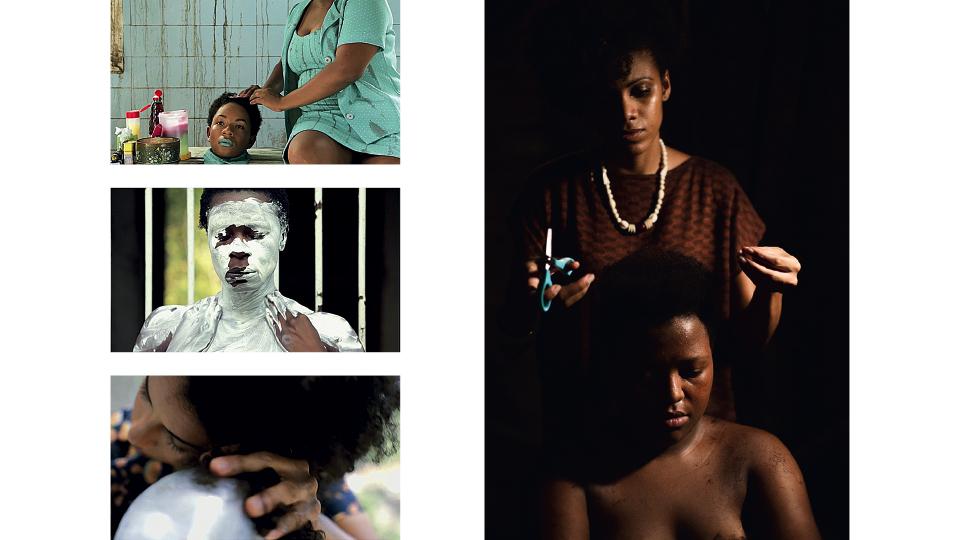 Imagens do curta KBELA; à dir., cena que reproduz a transição capilar de Yasmin