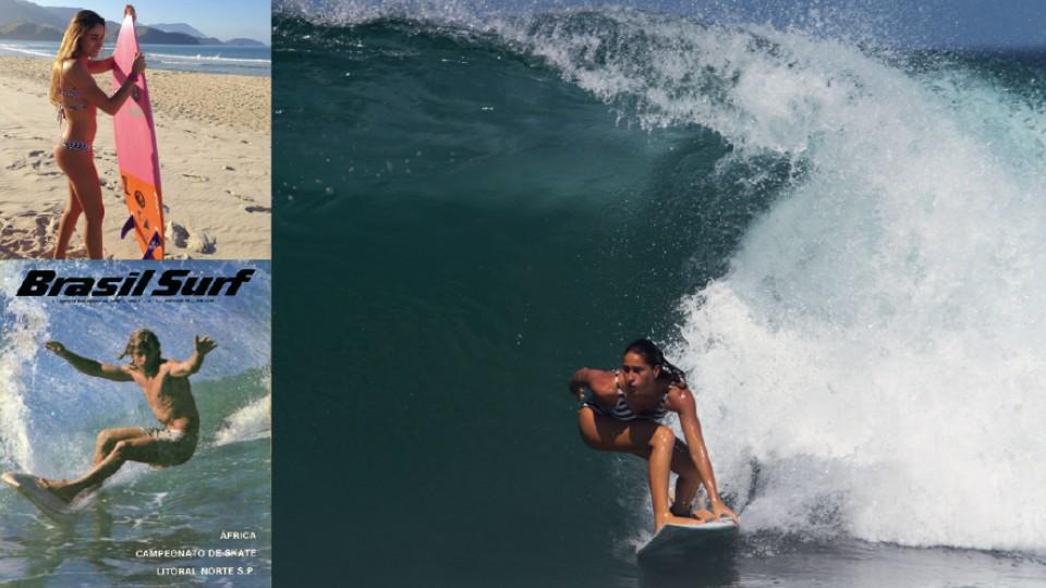 A carioca em Maresias, litoral norte de São Paulo, em 2015; Abaixo, o pai, Jean Noel, na capa da primeira revista de surf do Brasil, em 1976; e Michelle surfando em Fernando de Noronha, em 2015