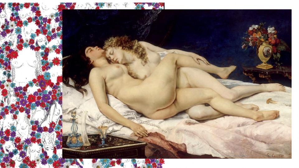 Le sommeil (1866), obra do francês Gustave Courbet, retrata sua amante, Jo Hiffernan, na cama com outra mulher. Ilustrações de Camila Fudissaku