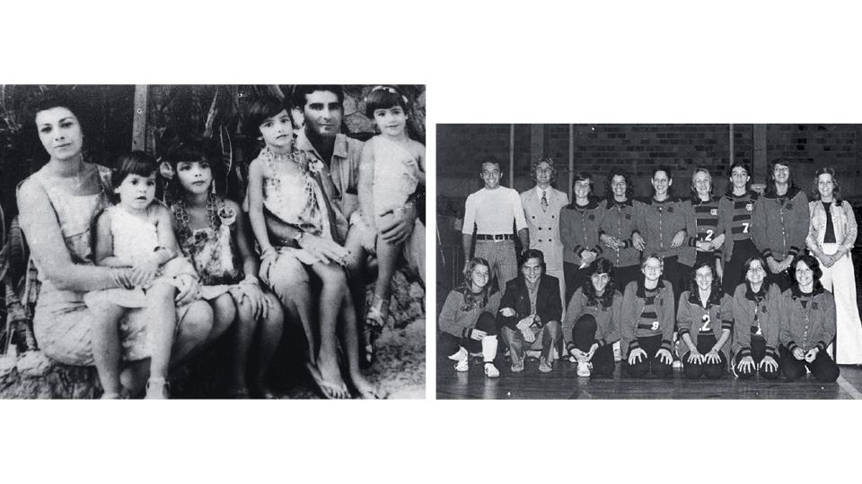 À esq., com a mãe, Marília, o pai, Antonio, e as irmãs no Rio de Janeiro, anos 70. À dir., aos 16, jogando pelo Flamengo, com a camisa 7.