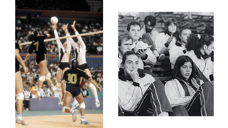À esq., Isabel (camisa 7) e a seleção brasileira contra as americanas nos Jogos Olímpicos Los Angeles 1984. À dir., Isabel e Jacque no Panamericano na Venezuela em 1983, com o técnico Enio Figueiredo