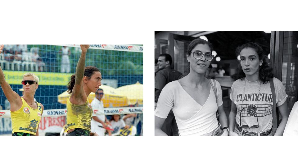 À esq., com Roseli, no Circuito Mundial de Vôlei de Praia em 1994. À dir., com Vera Mossa em 1989