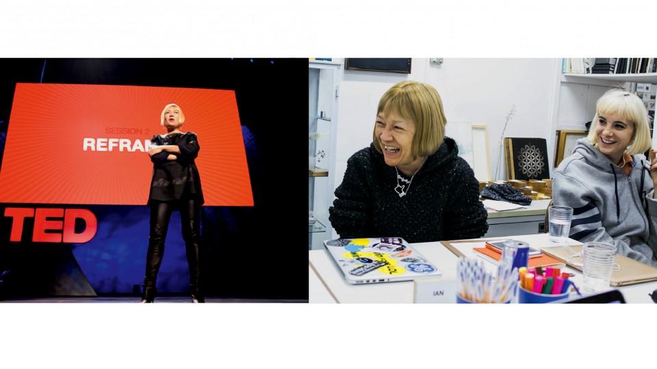 """Em seu famoso TEDTalk de 2009: """"Fui a única palestrante na história do TED a falar a frase 'gozar na minha cara'""""; Cindy com a curadora do MLNP, Sarah Beal, durante o workshop Mesa&Cadeira, em maio, em São Paulo"""