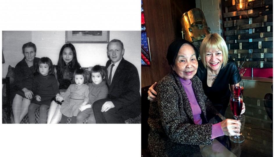 À esquerda, Cindy com a avó Marjorie, o pai, Christopher, a mãe, Siok e as irmãs Eve e Annabel (1965); À dir., com a mãe no natal de 2015