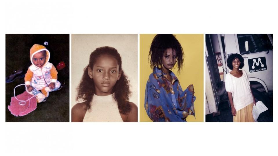 """A partir da esq., na casa da madrinha em São Paulo, com pouco mais de 1 ano; aos 11, """"idade da feiura braba""""; um dos primeiros trabalhos como modelo, aos 13; nos bastidores de Xica da Silva, na TV Manchete em 1996"""