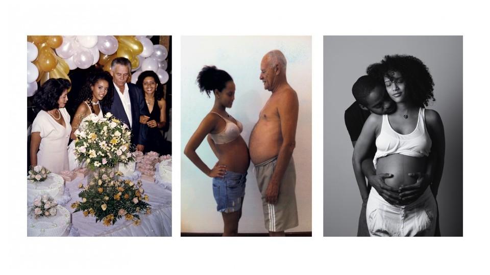 No baile de debutante com a família (Mercedes, Ademir e Claudia) - Com o pai, grávida de João - Com Lázaro, grávida de Maria Antonia